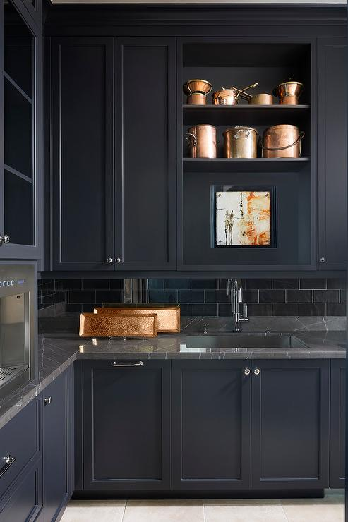 Black Marble Wallpaper Black Marble With Black Butler Pantry Cabinets