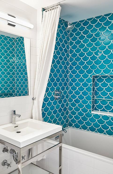 Glass Subway Tile Shower Fireclay Ogee Drop Ties In Shower - Cottage - Bathroom