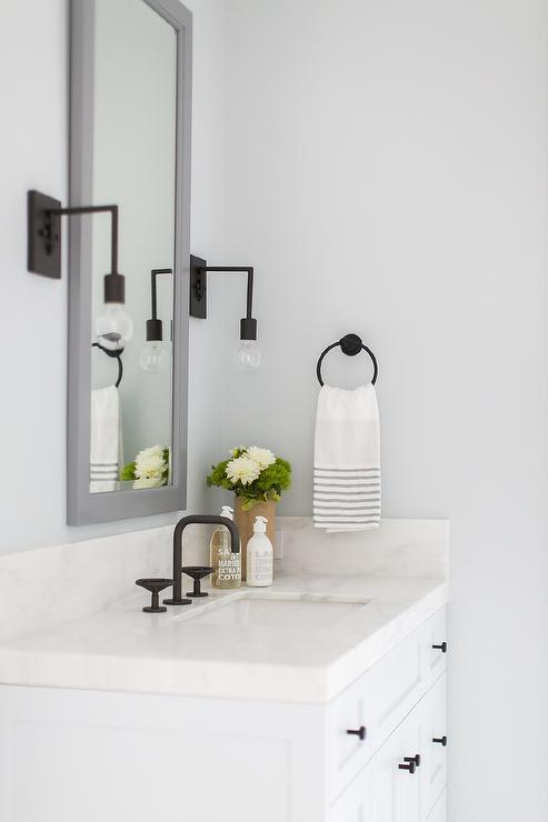 Black And White Wallpaper Decor Tall Gray Mirror With White Sink Vanity Transitional