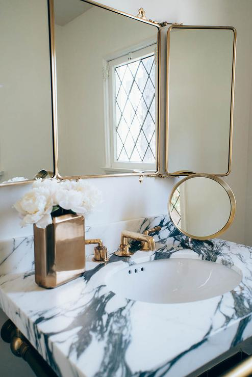 Wall Mirror Vintage Style Waterworks Marble Top Washstand With Brass Trifold Mirror