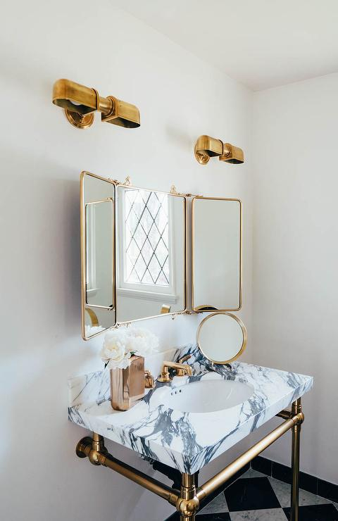 Wall Mounted Headboards Waterworks Marble Washstand With Brass Legs - Transitional