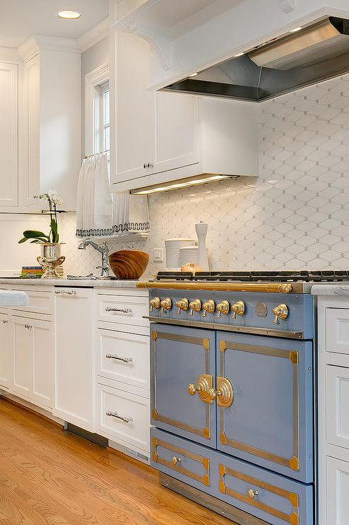 Kitchen Curtain Ideas Blue Stove With White And Gray Diamond Tiles