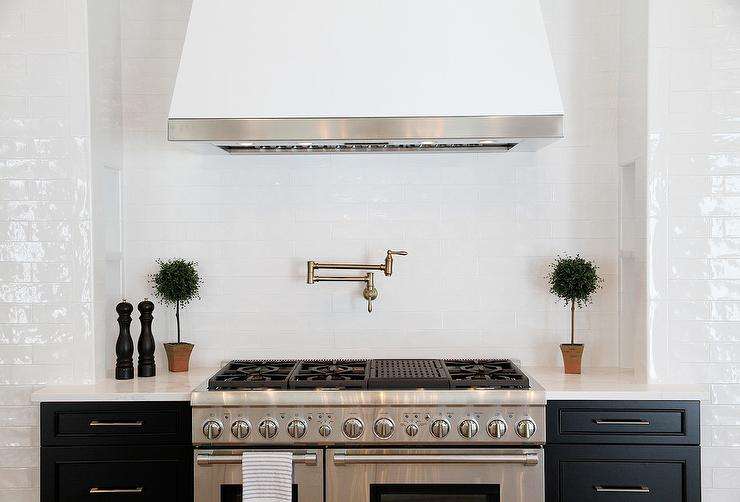 White Over Brown Cabinets Kitchen Dark Steel Kitchen Range Hood With White Beveled Subway