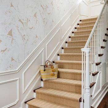Staircase with Wainscoting and Gray Ikat Wallpaper ...