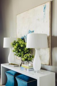 Sapphire Blue Velvet Living Room Ottomans Design Ideas
