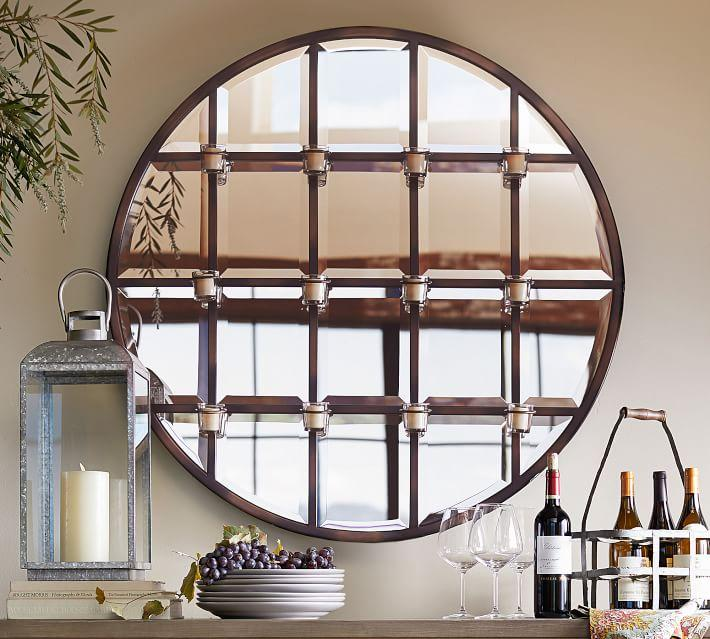 Round Mirror With Black Frame Bronze Framed Rectangle And Round Mirror