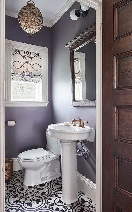 Black And White Marble Wallpaper Purple Powder Room With Parisian Pedestal Sink