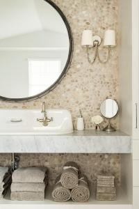 Tan Pebble Backsplash with Round Mirror - Transitional ...