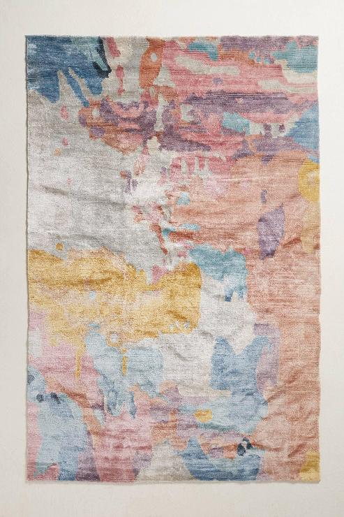 Light Gray Paint Ashik Multicolor Wool Rug