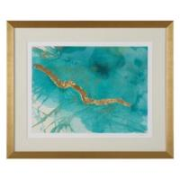 Teal and Gold Leaves Wall Art