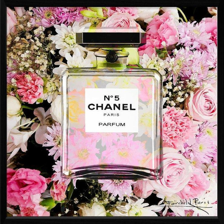 Frameless Mirror On Chain Pink Floral Dior Perfume Bottle Art
