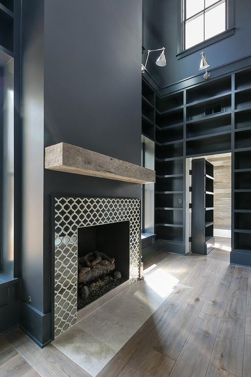 Blue Fireplace Black Herringbone Fireplace Mantel Tiles - Transitional