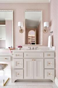 Pink Girls Bathroom with Gray Glass Tiles - Transitional ...
