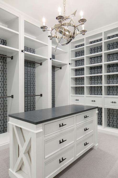 Black And White Wallpaper Decor Gray Wallpaper Behind Closet Built Ins Transitional Closet