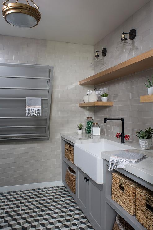 3d Shelves Wallpaper Industrial Style Laundry Room With Gray Tiles