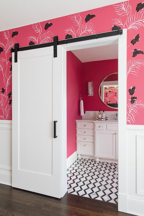 neon pink wall paint contemporary bathroom benjamin moore hot lips