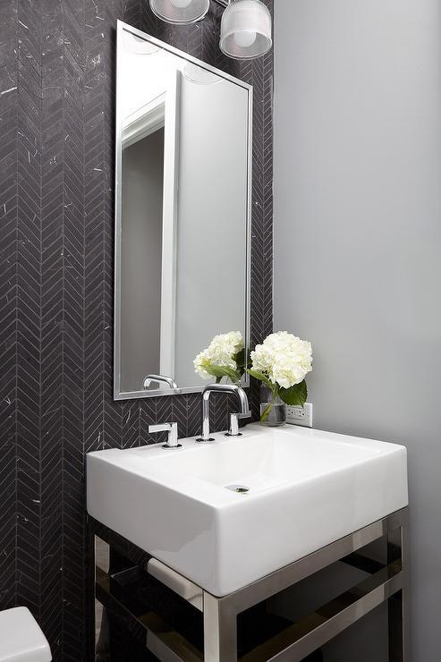 Wallpaper Black And White Damask Powder Room With Black And White Herringbone Floor Tiles