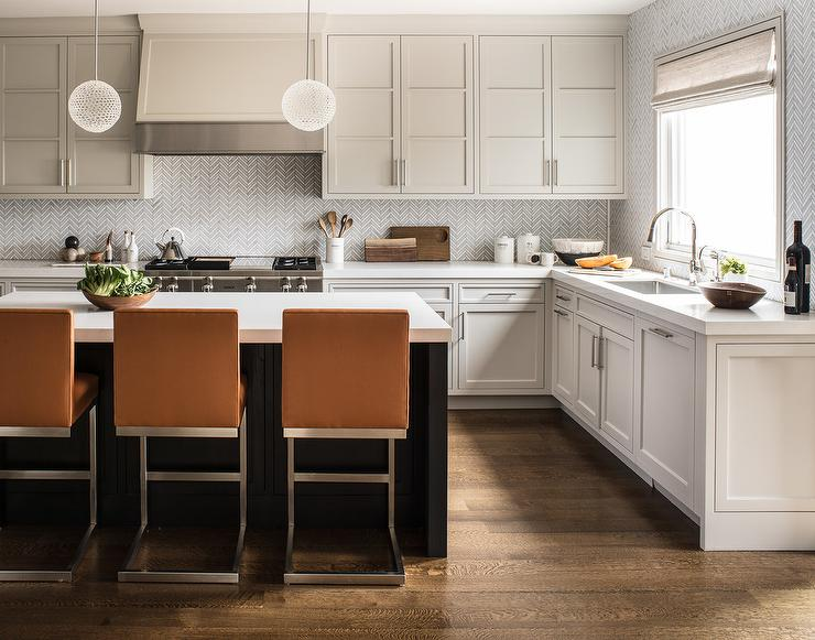 Dark Cabinets White Island Hermes Orange Leather Counter Stools At Brown Island