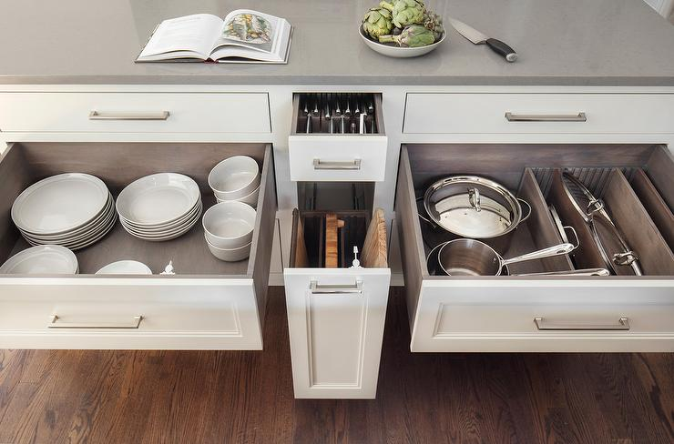 Kitchen Drawer Knife Organizer Custom Pot And Pan Lid Drawer With Dividers - Transitional