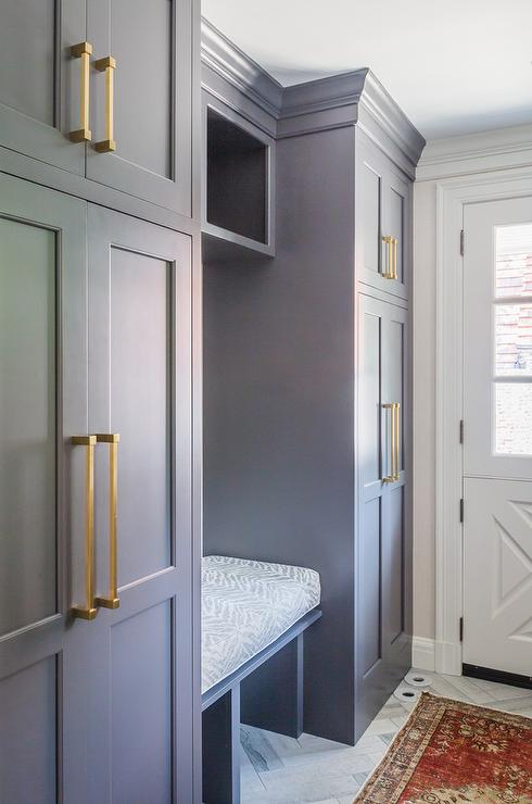 mudroom laundry room design gray lockers cabinets slate