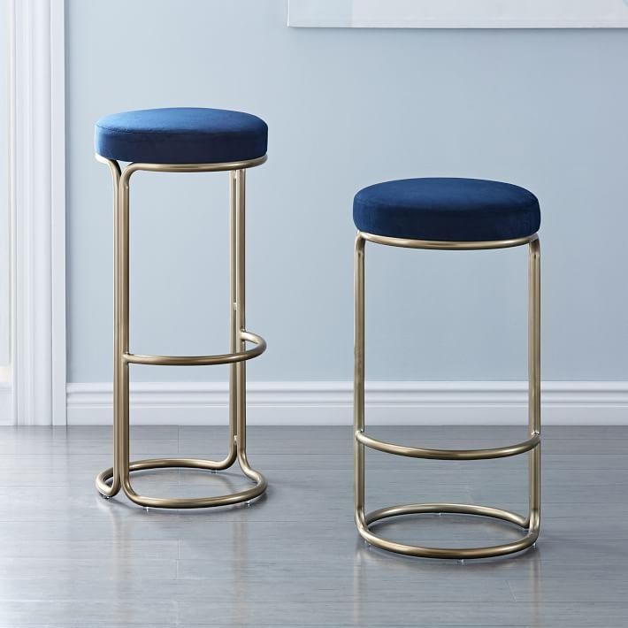 Brass Bar Stools Erin Gold Grey Velvet Bar Chair Set