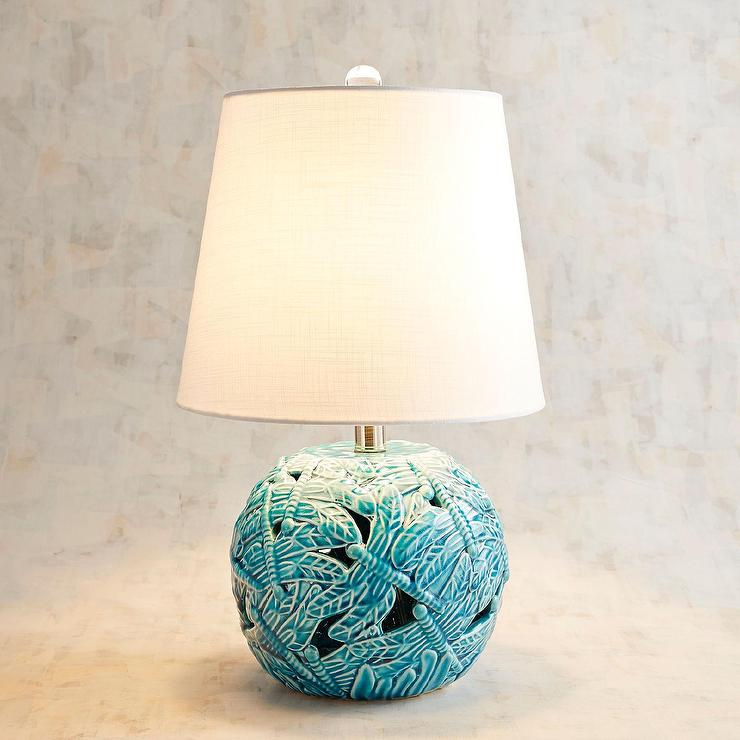 Bedroom Night Stands Romano Blue Ceramic Round Table Lamp