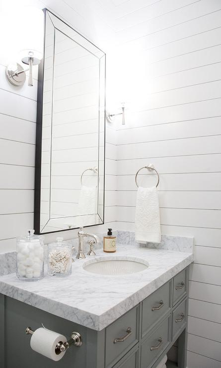 Beveled Mirror Designs Guest Bathroom With Shiplap Transitional Bathroom