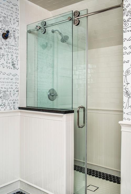 Oval Mirror Long Walk In Shower With Glass Doors On Rail Transitional