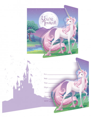 Decoration Anniversaire Emoji 8 Cartes D'invitation Licorne Magique