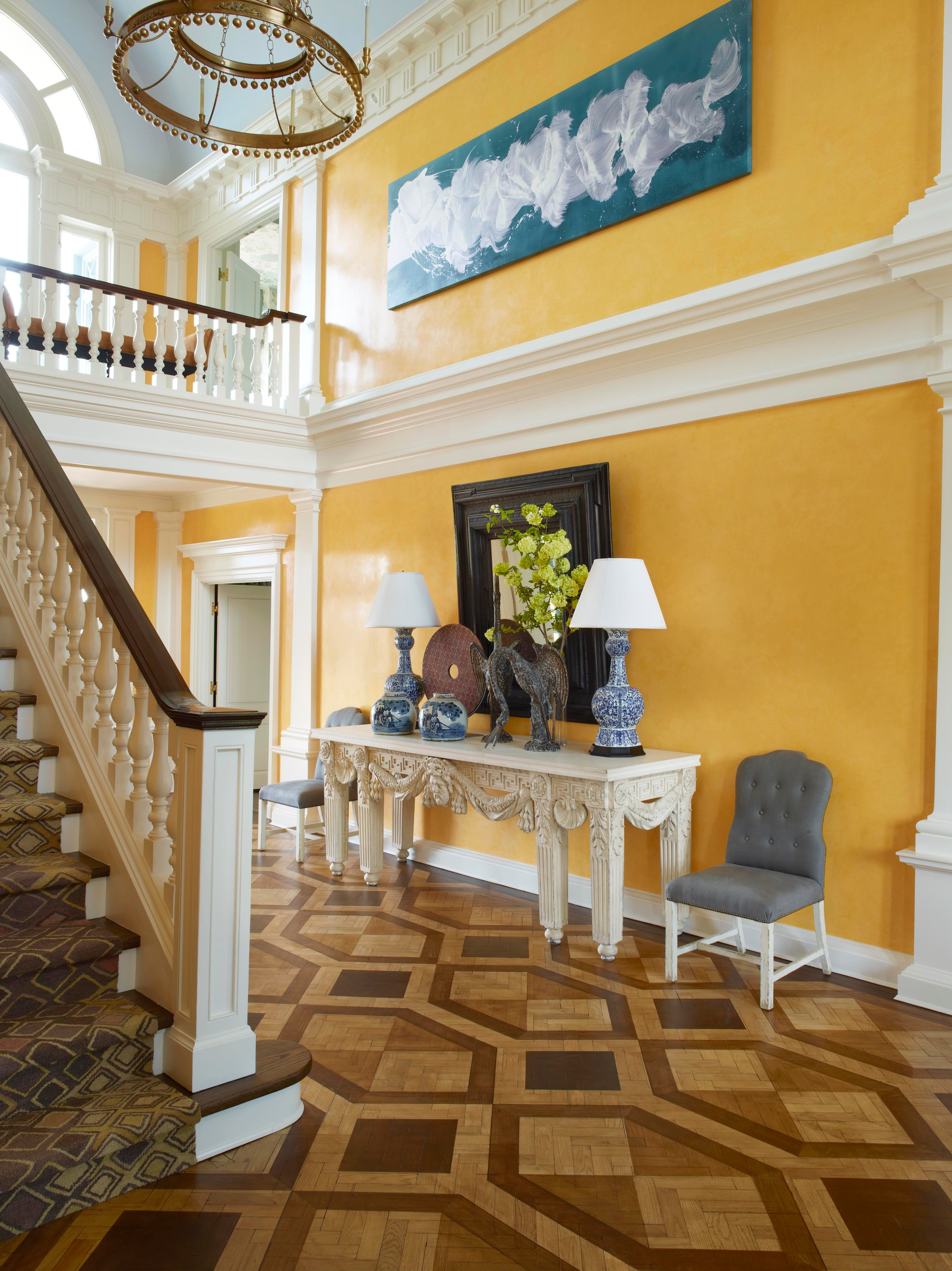 Yellow Bar Stools Yellow Venetian Plaster Entry Hall. By Bunny Williams Inc