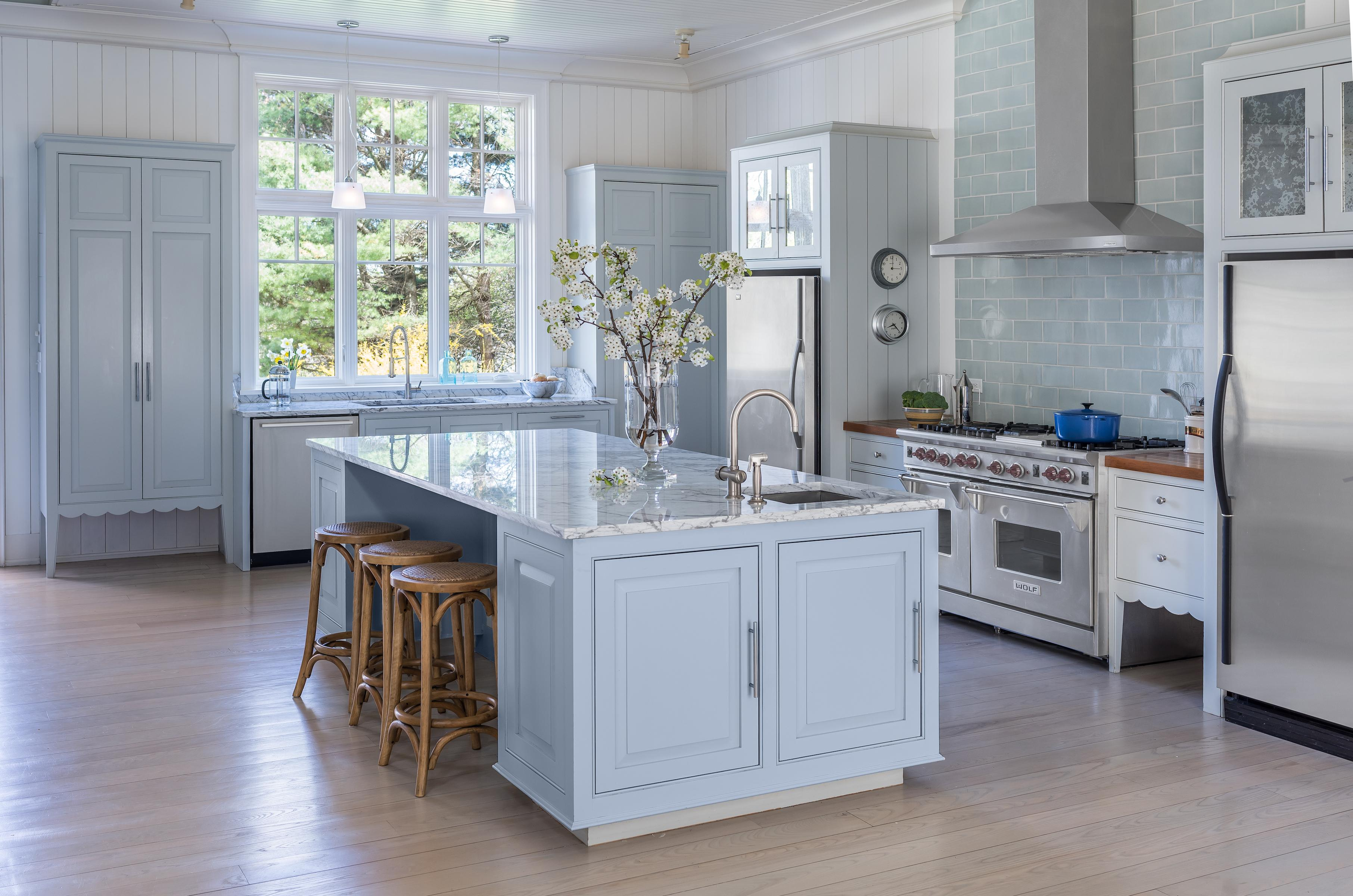 Painting Kitchen Cabinets Light Blue Kitchen At Luxe Barn Falmouth By Banks Design Associates