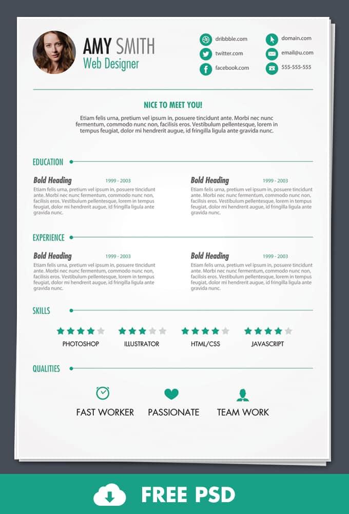 Free PSD Print Ready Resume Template -DesignBump