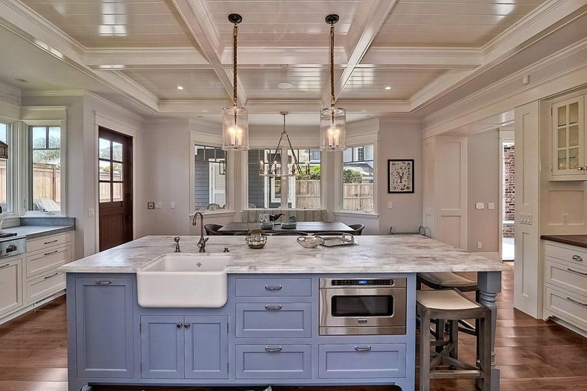 kitchen carrara marble counters light blue color island designing kitchen kitchen decor design ideas