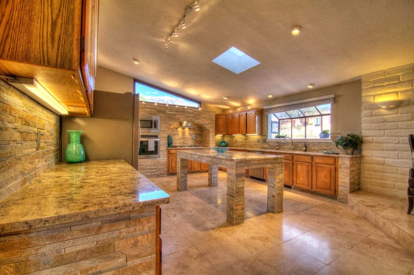 contemporary kitchen clay brick wall stacked stone backsplash elegant brick backsplash kitchen presented soft colors
