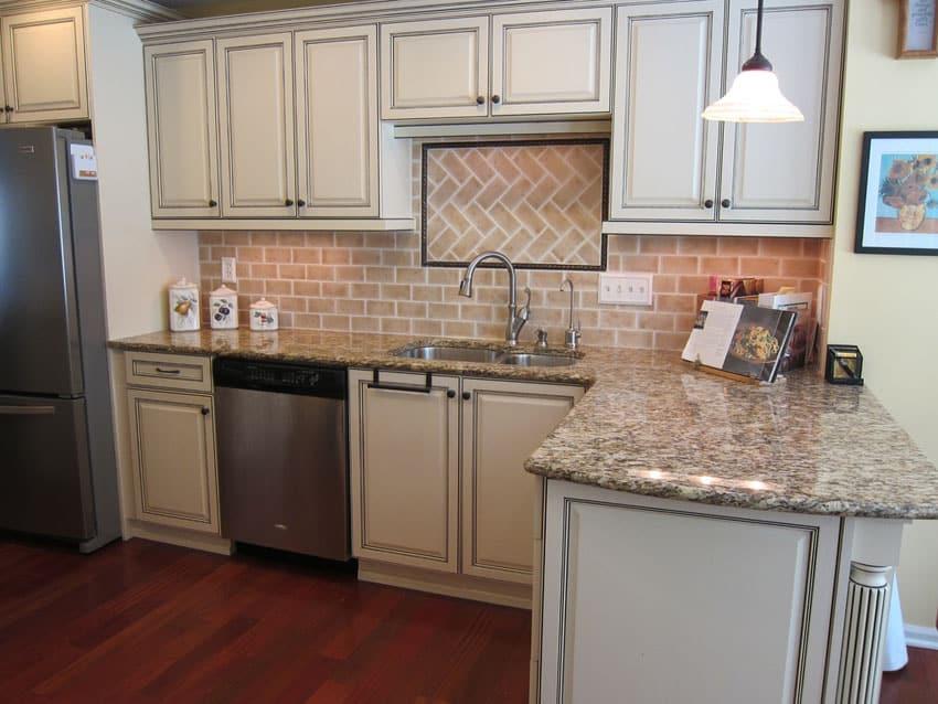 cream cabinet kitchen clay light color brick backsplash elegant brick backsplash kitchen presented soft colors