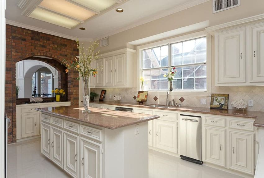 traditional white kitchen brick arch travertine backsplash elegant brick backsplash kitchen presented soft colors