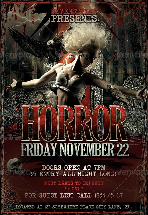 15 (More) Horror Flyer Templates for Halloween Party