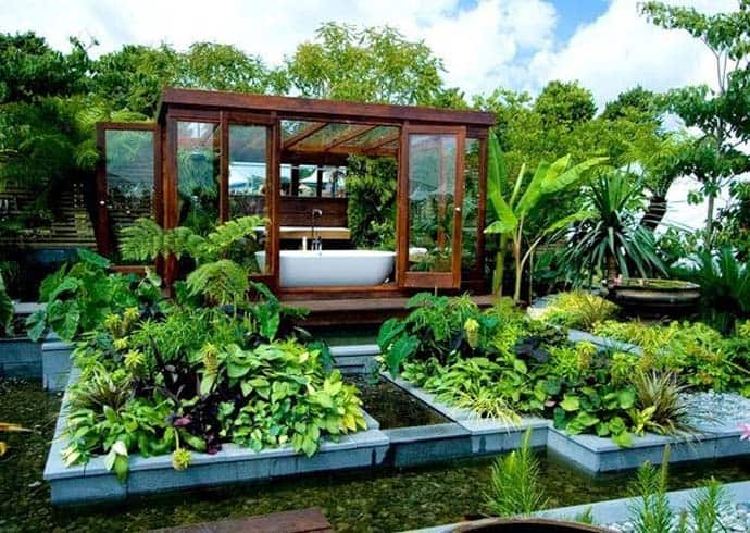 Garden Design Ideas For Small Triangular Gardens Outdoor Bathroom In The Middle Of A Tropical Garden