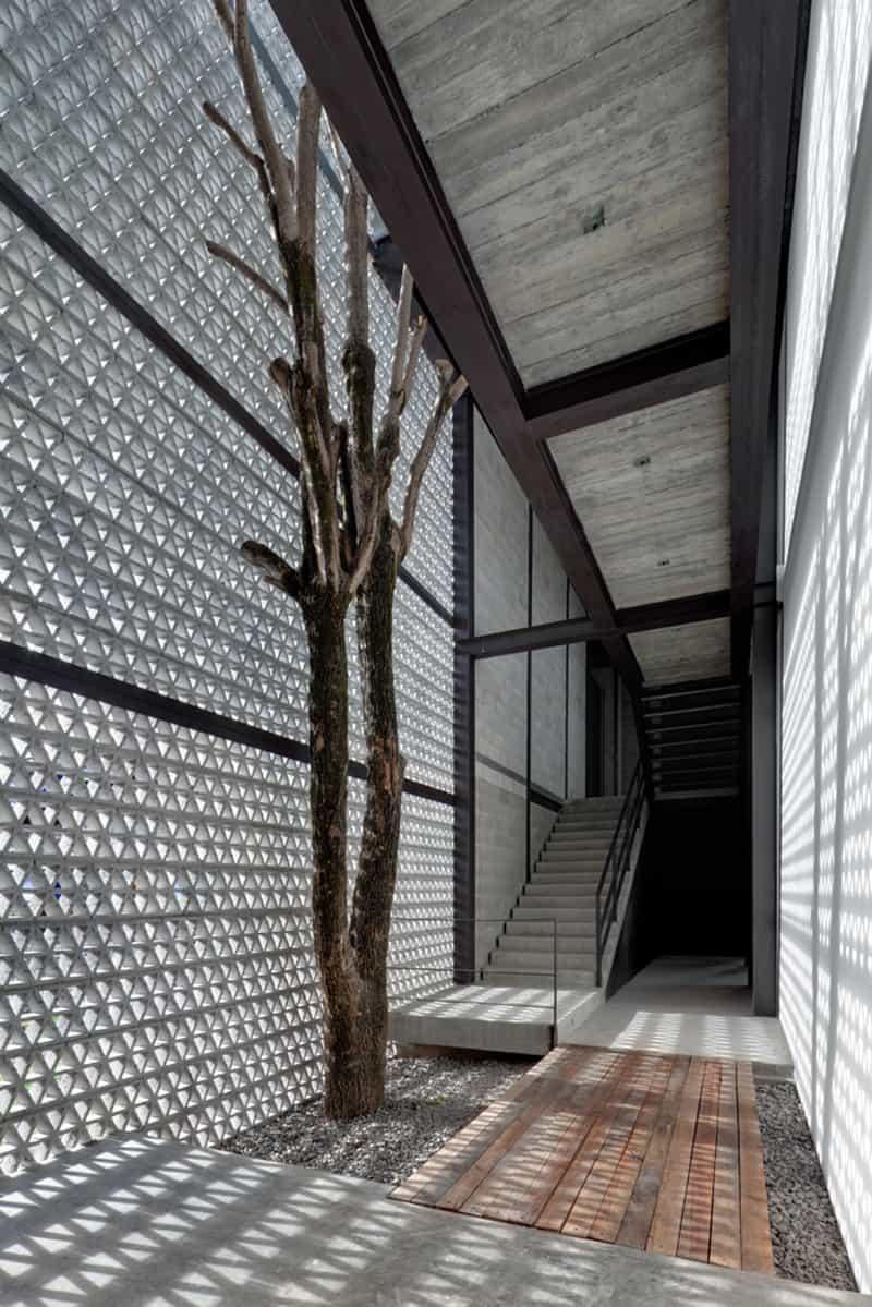 3d Wallpaper For Walls Designs Perforated Concrete Walls La Tallera By Frida Escobedo