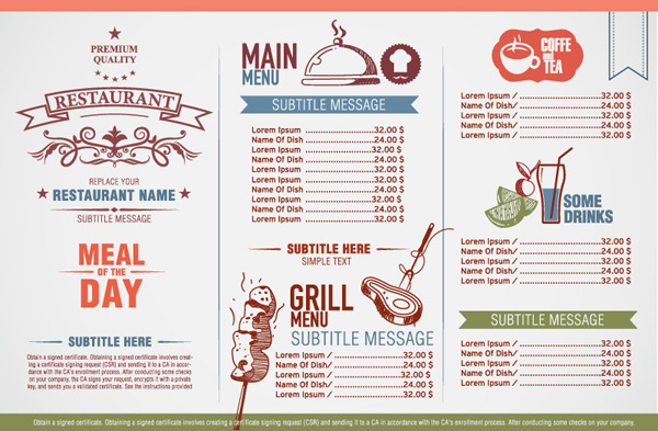 Elegant restaurant menu Vector EPS Free download