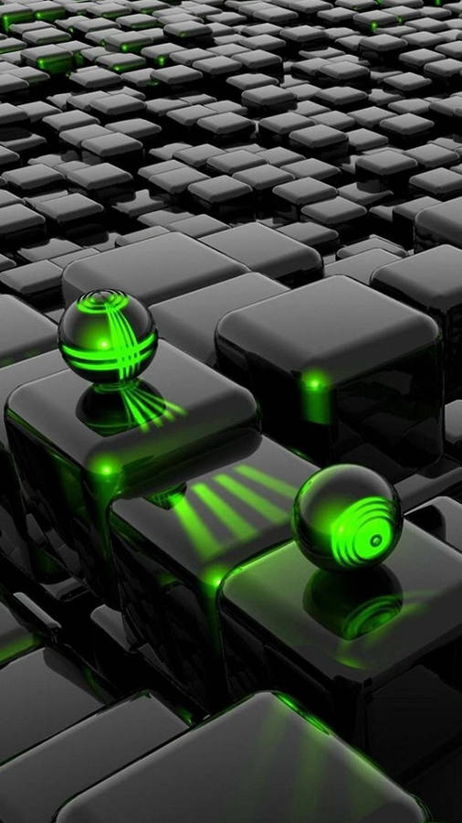 White Wave 3d Wallpaper Black Hexagons Protecting The Green One Wallpaper 3d