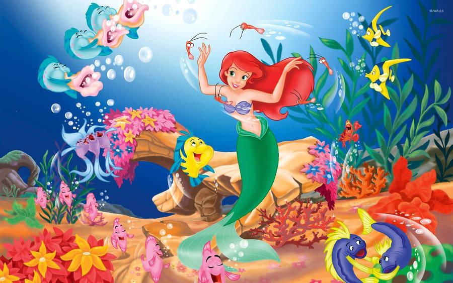 Cute Little Mermaid Wallpaper Disney Princess Mermaids Wallpaper Digital Art