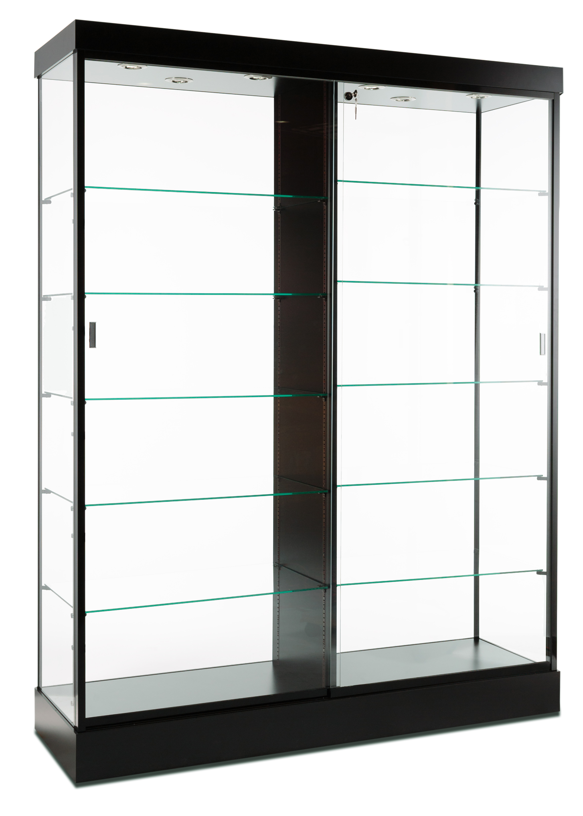 Glass Display Cabinet Display Cabinets Black Finish And Top Lighting Glass Doors