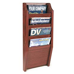 Magazine Racks 4 Pockets Red Mahogany Finish