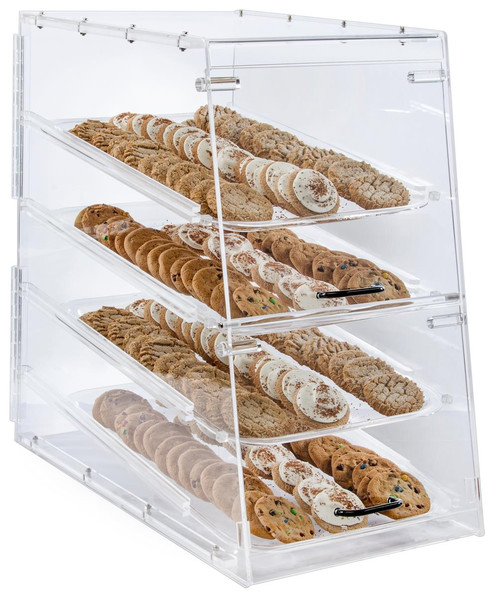 Countertop Food Display Case Acrylic Food Display Case For Bakery 4 Trays Knock Down Design