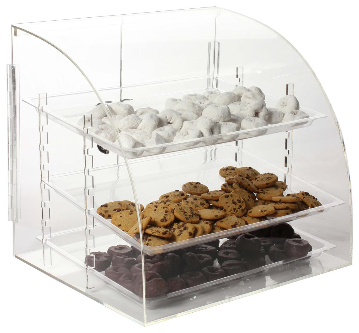 Countertop Bakery Case Rear Loading Bakery Counter Display Removable Plastic Trays