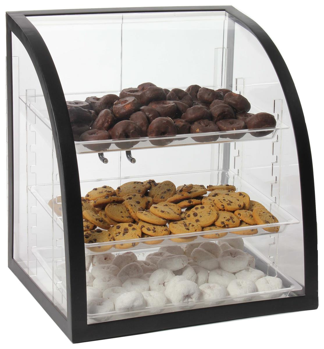 Countertop Bakery Case Acrylic Bakery Display 3 Removable Trays And Metal Frame