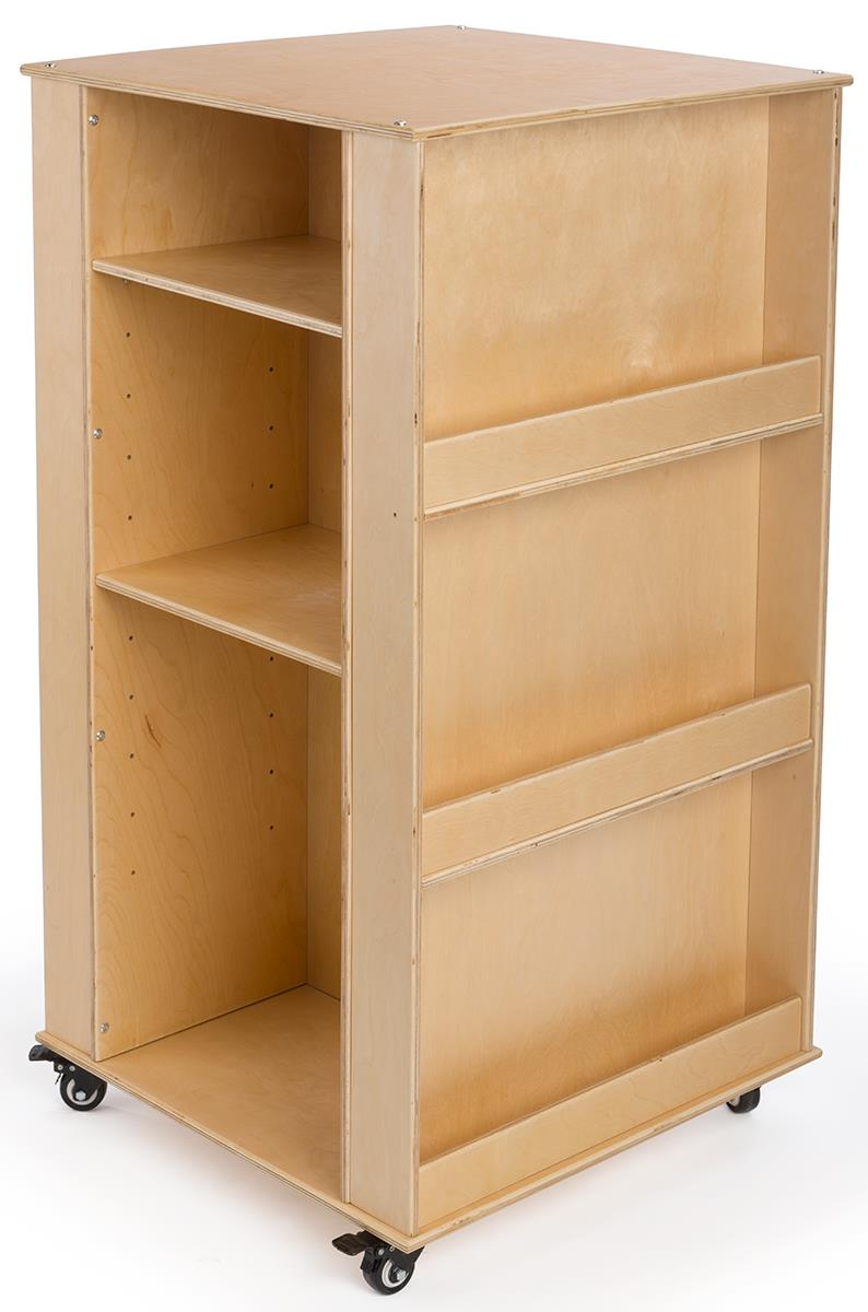 Book Display Stand 4 Sided Children S Book Display For Floor Wheels Adjustable Shelves Wood Natural