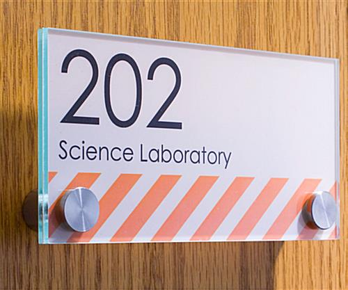 Office Signs Green-Edged Acrylic with Stainless Steel Standoffs