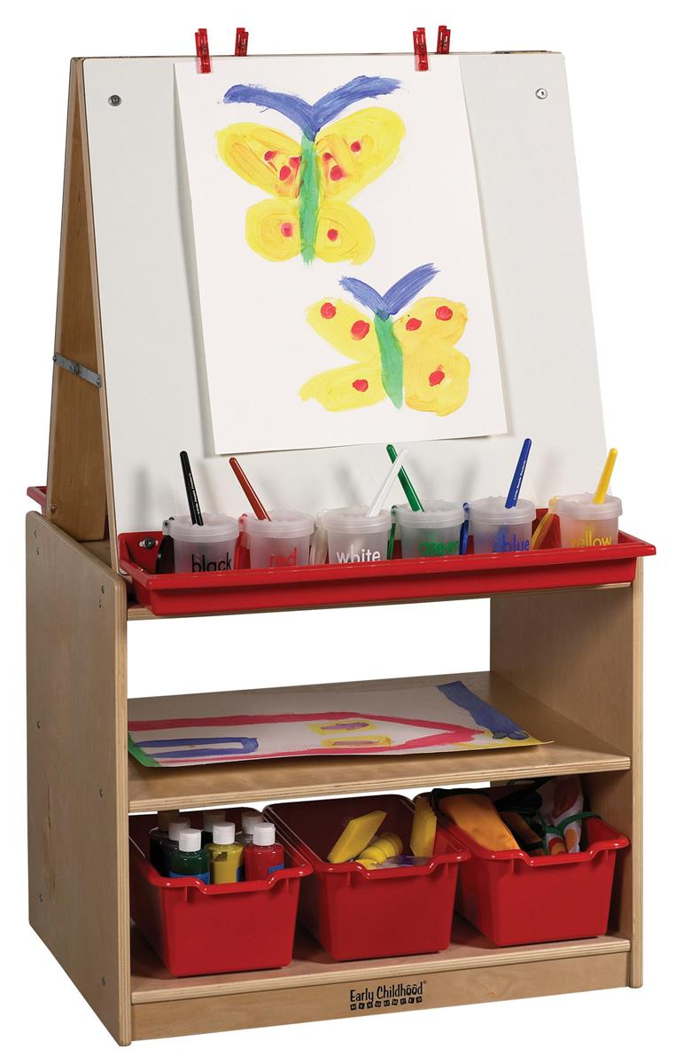 Double Sided Childrens Art Easel With Storage Red Paint
